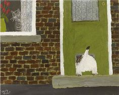 Gary Bunt - oil on canvas 10x12-The Cat Flap - It really is not my day today I'm being ridiculed by next doors cat I chased him up the garden path And got my arse stuck in the flap