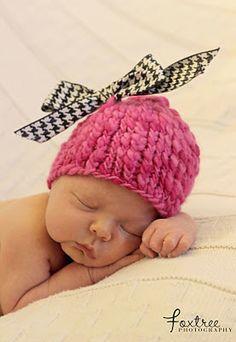 Newborn Pink Houndstooth Hat
