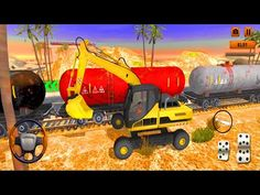 JCB Train Track Level Crossing -Heavy Excavator Simulator Sand Truck Driving Game - Android Gameplay - YouTube