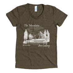American Apparel Tri-Blend Tee - Mountains Calling Design - Women's
