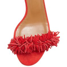 Aquazzura Wild Thing Fringe City Sandal ($840) ❤ liked on Polyvore featuring shoes, sandals, toe strap sandals, ankle wrap shoes, fringe sandals, suede shoes and ankle strap sandals