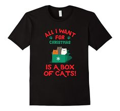 Amazon.com: Christmas is a box of cats t-shirt: Clothing Aunt T Shirts, Christmas Humor, Ugly Christmas Sweater, Mens Tops, Clothes, Amazon, Cats, Box, Fashion