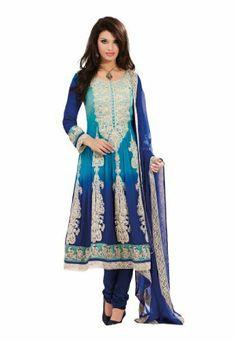 Fabdeal Women's Indian Designer Wear Embroidered Anarkali Suit Blue Fabdeal