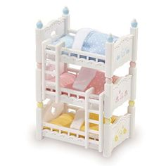 Calico Critters Triple Baby Bunk Beds  TRIPLE BABY BUNK BEDS-Calico babies love their cozy beds! Beds can be positioned in 3 fun ways. Stack them like bunk beds, arrange them like a pyramid or simply use them as 3 separate beds. Critters sold separately.  FUN DETAILED ACCESSORIES - Complete with 3 mattresses, 3 pillows, 3 blankets and 2 climbing ladders. Designed to furnish the Calico Critters Homes. Critters and Homes sold separately.  TIMELESS CALICO CRITTERS:  Calico Critters is a u...