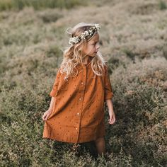 Button Shirt Dress - Rust - 2-6y