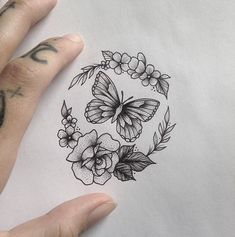 unique Tiny Tattoo Idea - Butterfly & Flowers Tattoo by medusaloux@outloo......