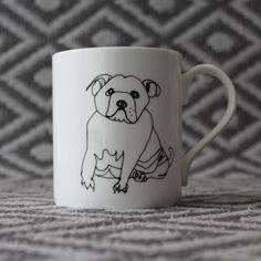 Bone china Bulldog mug by Nadia Sparham. Designed and made in the UK.