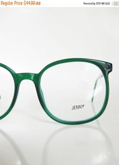 1970s Round Emerald Green Eyeglasses Sunglasses Oversized Clear Forest  Womens Ladies 70s P3 Round Huge Geek Chic Sunnies Deadstock NOS Indie a324c5552d3a