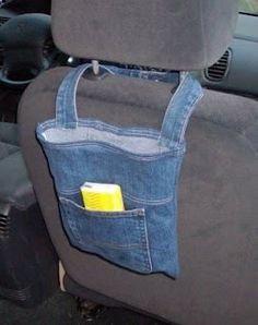 Säilytyspussi autoon farkuista