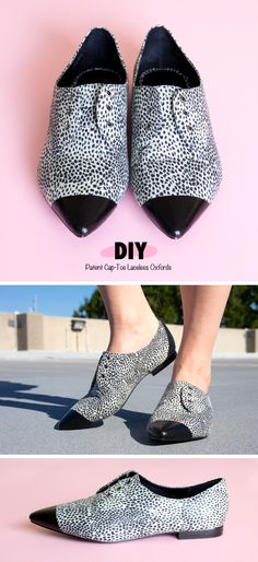 designer inspiration, 3.1 Phillip Lim Nancy, cap toe, patent, flats, slip-on, diy, do it yourself, custom, paint, elastic, mod podge