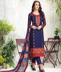 Buy Navy Blue Georgette Straight Cut Suit 74305 online at lowest price from huge…