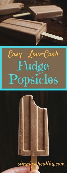 These Easy Low-Carb Fudge Popsicles are rich, creamy, and chocolatey. These delicious treats can be part of a low-carb, ketogenic, Atkins, LC/HF, gluten-free, and Banting diets.