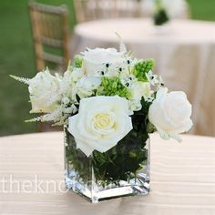 Real Weddings - A Traditional Wedding in Ipswich, MA - White Rose Centerpieces