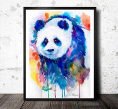 Panda watercolor  painting print , bear, animal, illustration, animal watercolor, animals paintings, animals, portrait,