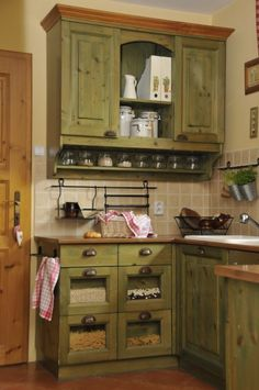 Built in dry goods holders, reduce counter and cabinet clutter. AND i love the color of the cabinets! Living Room Cabinets, Kitchen Cabinets, Kitchen Dining, Kitchen Decor, Vintage Kitchen Appliances, Green Cabinets, Pretty Room, Living Room Green, Country Kitchens
