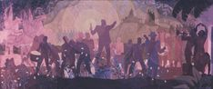 Aspects of Negro Life: From Slavery Through Reconstruction , 1934  Aaron Douglas (1899-1979)  Oil on canvas, 5 ft. × 11 ft. 7 in. (152.4 × 353.1 cm)