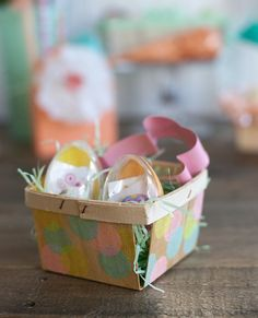 DIY tissue paper confetti Easter basket {Handcrafted Parties | photos by Lia Griffith}