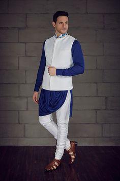 Love the Quilting Jacket - Cowl Style Kurta from BenzerWorld! Wedding Kurta For Men, Wedding Dress Men, Indian Wedding Outfits, Wedding Suits, Indian Outfits, Wedding Attire, Indian Men Fashion, Mens Fashion Wear, Suit Fashion