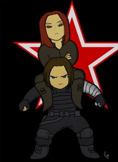 Winter Soldier x Black Widow scowling chibi fanart by lulushappenings