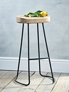 NEW Weathered Oak and Metal Stool - Stools, Chairs & Benches - Furniture