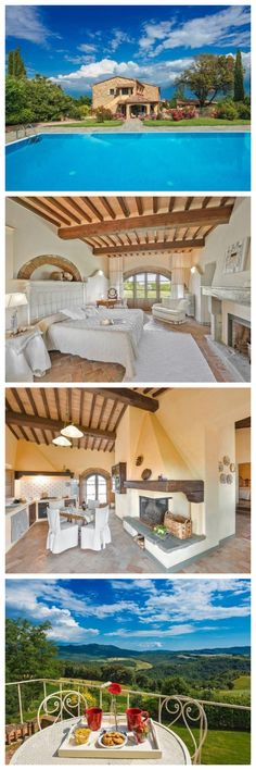 Villa Emma is located in a picturesque medieval village in Tuscany, Italy. The beautiful farmhouse has been completely restored and is the perfect place to vacation and escape everyday stresses. Book it with your friends or family and retreat to the countryside!