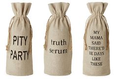 Gift ideas!  I can think of three people who I could gift these to with, of course, a bottle to fill the bag!  Love it!  3 Assorted Wine Bags, My Mama Said on OneKingsLane.com