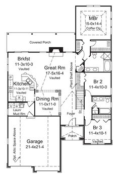 Craftsman European Traditional House Plan 95969 Level One