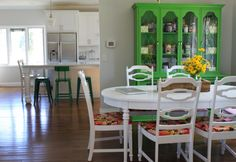Love Meg's bright hutch filled with art supplies.