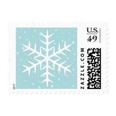 White winter snowflake pale aqua Christmas Holiday Postage