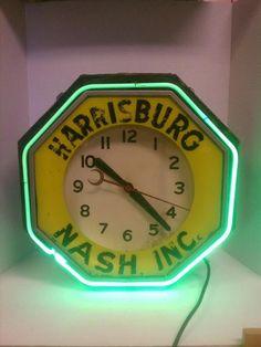 Vintage-Rare Nash Dealer Neon Advertising Clock Neon Products Ohio Gas Oil