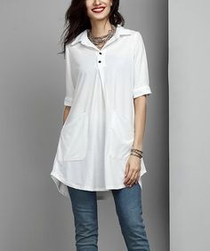Another great find on #zulily! White Collared Button-Front Pocket Tunic #zulilyfinds