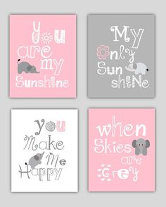 SALE Elephant Art You are my sunshine Pink and Gray by Little Pergola Art, $44.00