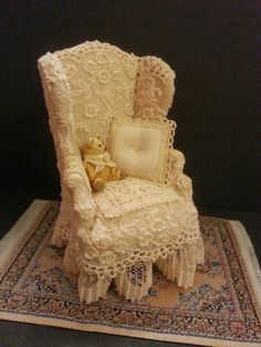 """Old Lace Charm series. An armchair to snuggle up in (if you're under 6"""" tall that is)."""
