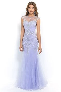 2015 Terrific Scoop Beaded And Fitted Bodice Mermaid/Trumpet Prom Dress Tulle USD 199.99 BPP35HG6P6 - BrandPromDresses.com
