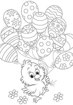 Free Easter colouring-in sheets for the kids Chick Holding Easter Balloons Free Easter Coloring Pages, Easter Coloring Sheets, Coloring Easter Eggs, Coloring Book Pages, Printable Coloring Pages, Coloring Pages For Kids, Colouring Sheets, Colouring In, Spring Coloring Pages