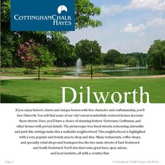 Dilworth - Charlotte, North Carolina  If you enjoy historic charm & unique homes with fine character & craftsmanship, you'll love Dilworth. Click through on the links to visit some of our favorite spots in this hot hood. #cchrealtors #Dilworth #Charlottehoods