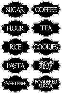 Etiquetas sencillas y geniales para poner orden en nuestros armarios o cocinas. Poupées Our Generation, Printable Labels, Vinyl Labels, Cricut Vinyl, Cricut Air, Kitchen Canister Labels, Pantry Labels, Jar Labels, Kitchen Baskets