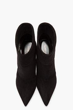 Saint Laurent Paris black suede ankle boots _