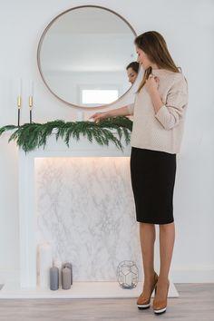 Knit sweater and midi black skirt  suvellecuisine.com