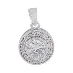 Malakan Jewelry - White Gold Round Diamond Pendant 53998U