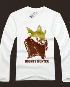 DOTA herói Bounty Hunter impressa de manga comprida t-shirts para os homens-
