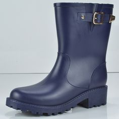 (28.40$)  Watch here  - Plus Size 40 Women Rain Boots Buckle Rainboots European American Motorcycle Riding Boots PVC Water Shoes Black Blue Botas Mujer