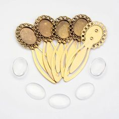 5Sets Alloy Bookmark Base Cabochon Cameo Settings Glass Cabochons Oval Craft