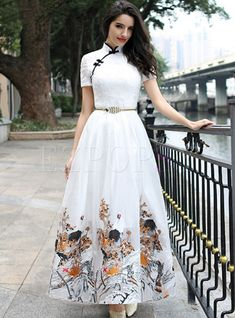 Vintage Embroidery Improved Cheongsam Maxi Dress , refreshing white add special floral make your special summer. Indian Fashion Dresses, Frock Fashion, Indian Gowns Dresses, Dress Indian Style, Indian Designer Outfits, Modest Dresses, Pretty Dresses, Designer Dresses, Casual Dresses