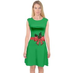 Green Christmas Gift Capsleeve Midi Dress CowCow (£29) ❤ liked on Polyvore featuring dresses, ribbon dress, stretchy dresses, christmas day dress, green dress and cap sleeve short dress
