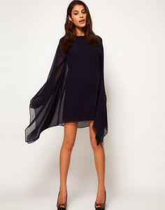 Shift Dress With Draped Sleeves