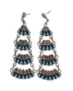 Sterling Silver Genuine Turquoise Vintage Old Pawn Chandelier Earrings Navajo Native American Southwest Indian Jewelry Unsigned