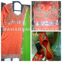 Beautiful tilla and mirror work on silk base by nav , maharani couture . Matching jutti makes this style go.