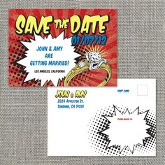 Comic Book Style Save the Date by yanstudio on Etsy