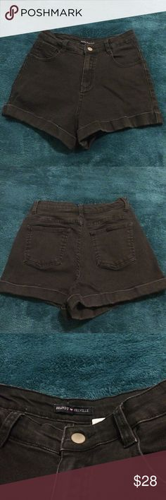 Brandy Melville black denim shorts •barely worn •new condition  •high rise •very short Brandy Melville Shorts Jean Shorts